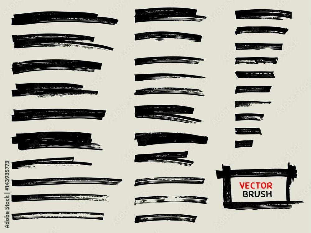 Fototapeta black marker brush stroke set