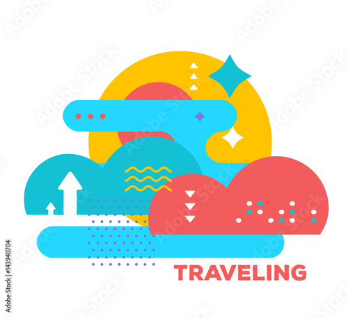 vector illustration of bright creative abstraction with clouds on