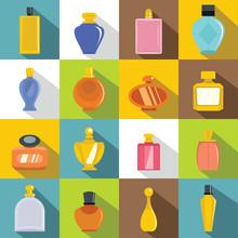 Perfume Bottles Icons Set, Flat Style