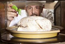 Chef Prepares Roast Little Chicken In The Oven