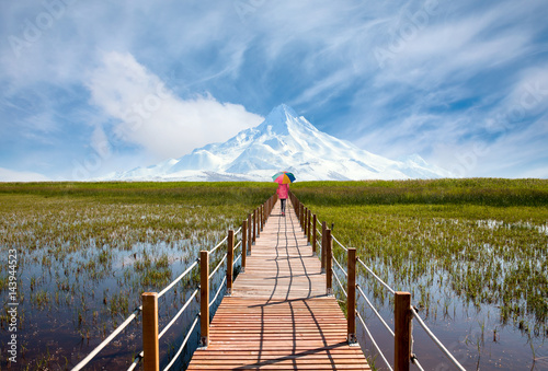Fototapeta Beautiful landscape with Sultanmarshes (bird paradise) next to erciyes mountain, Kayseri