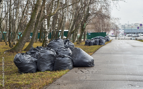Fine Pile Of Garbage Bags With Tree Leaves In The Moscow Street Pdpeps Interior Chair Design Pdpepsorg