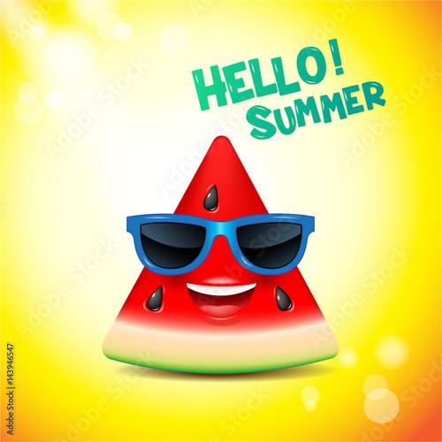 watermelon face, emojis,happy,summer,vector illustration Poster