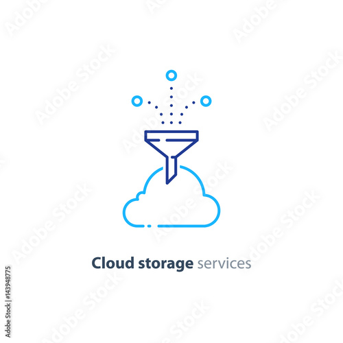 Online cloud storage, data aggregation concept line icon Canvas Print