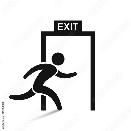 exit icon vector illustration, isolated on white. Wall mural