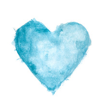 Blue Watercolour Painted Textured Heart