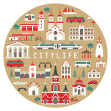 Vector Set Of Flat City Buildings And Transport To Create And Generate Tourist Map. Red And White Different Public And Residential Houses And Vehicles On Beige Circle. For Poster, Prints.