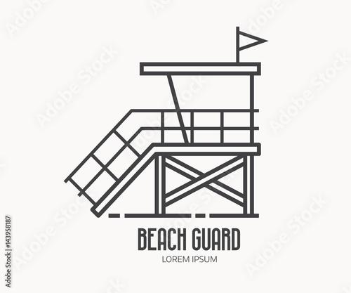 Beach lifeguard logo in thin line design. Beach guard house or tower ...