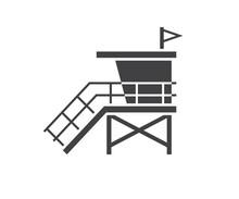 Sea Life Guard Tower Icon. Bea...