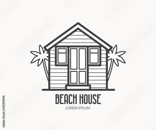 Summer bungalow icon in outline design. Beach hut logotype.