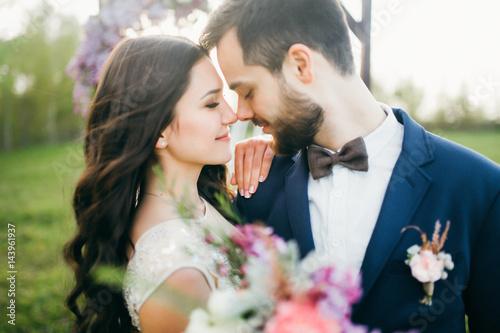 Obraz Happy bride and groom after wedding ceremony - fototapety do salonu
