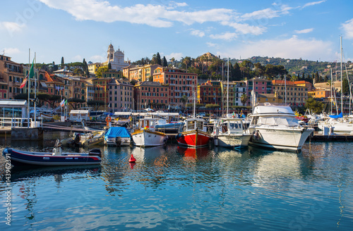 City on the water SANTA MARGHERITA LIGURE, ITALY, APRIL 8, 2017 - View of Santa Margherita Ligure, Genoa, from the harbor, touristic place in Riviera Ligure, mediterranean sea, Italy