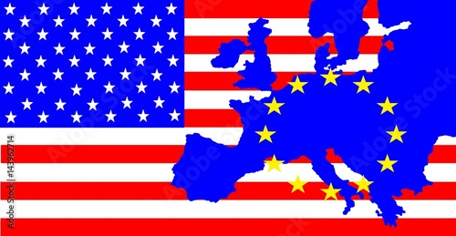 USA and Europe - On the US flag is the map of Europe with ...