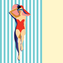 Beautiful Young Woman Tanning, With Sunglasses, Hat, At The Beach, Retro Style. Pop Art. Summer Holiday. Vector Eps10 Illustration