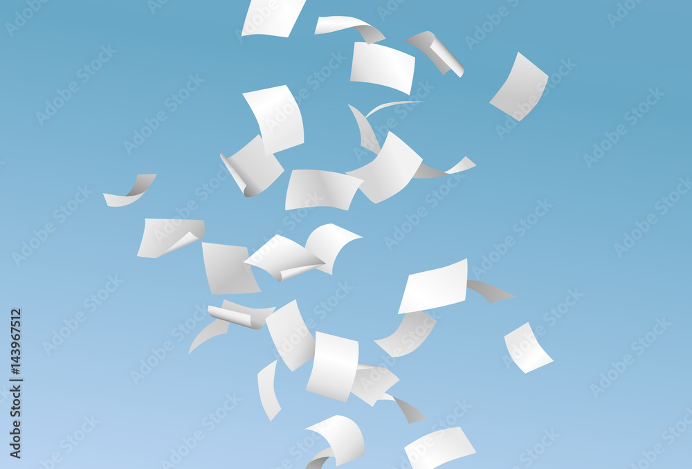 Fototapety, obrazy: Falling empty documents or papers and flying in the wind on the blue sky background - paperwork concept - vector illustration