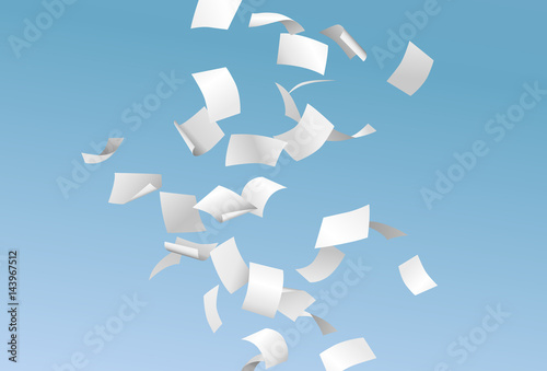 Falling empty documents or papers and flying in the wind on the blue sky background - paperwork concept - vector illustration
