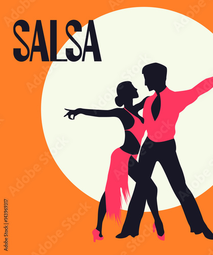 Leinwand Poster Salsa dancers card