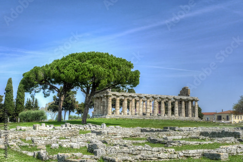 Poster Athene the Paestum archaeological site, Italy.