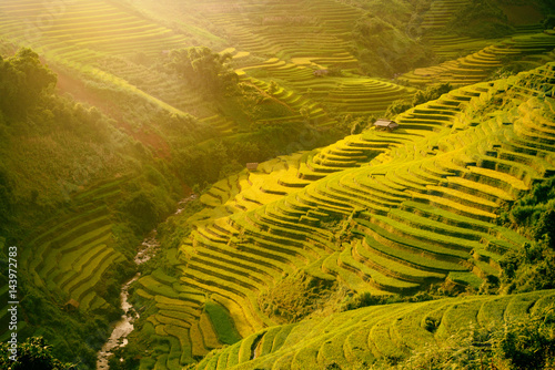Keuken foto achterwand Rijstvelden Morning rice terraces in the gorge. Vietnam Rice field terraces on the mountains in Mu Cang Chai Vietnam.
