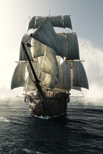Front View Of A Pirate Ship Vessel Piercing Through The Fog Headed Toward The Camera . 3d Rendering