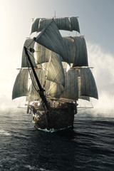 Fototapeta Do pokoju dziecka Front view of a pirate ship vessel piercing through the fog headed toward the camera . 3d rendering