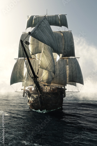 Tuinposter Schip Front view of a pirate ship vessel piercing through the fog headed toward the camera . 3d rendering