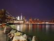 Brooklyn bridge and lower Manhattan skyline at night view from DUMBO