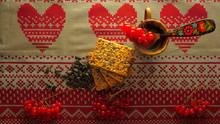 Ukrainian Ornament, Grain Biscuits, Sunflower Seeds And Phytotea
