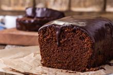 Homemade Chocolate Cake On Woo...