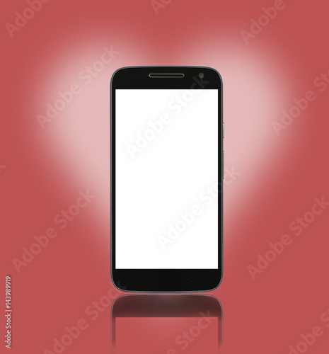 smart phone on red background with blank screen for mockup buy