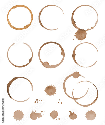 Photo  Vector set of cofee ring stains. Grunge style design element