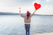Portrait Pretty Happy Smiling Woman With Air Balloons Heart Shaped Park Outdoor