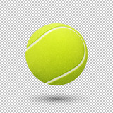 Fototapeta sport - Vector realistic flying tennis ball closeup isolated on transparent background. Design template in EPS10.