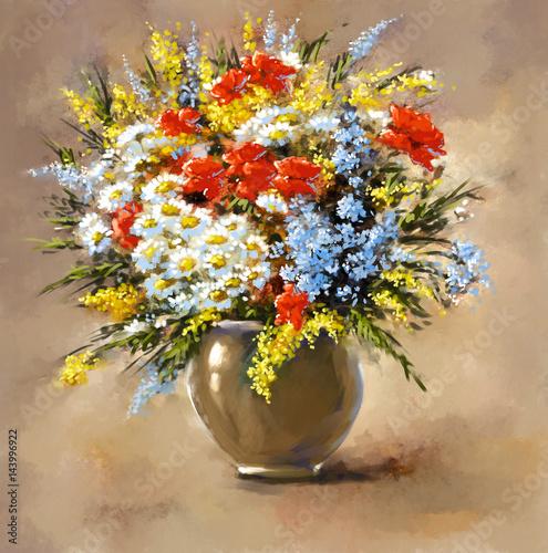 Plakat Cyfrowe obrazy olejne, kwiaty martwa natura.