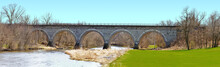 Historic Union Pacific Railroad Stone Arch Bridge Over Turtle Creek Wisconsin