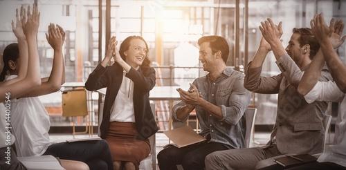 Fototapeta Business executives applauding after presentation obraz