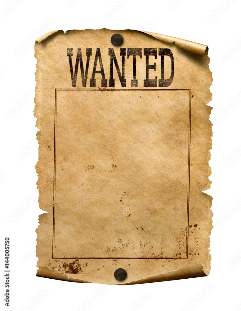 Fototapety, obrazy: Wanted for reward poster 3d illustration isolated