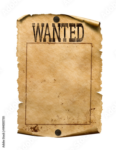 Wanted for reward poster 3d illustration isolated Wall mural