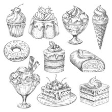 Vector Desserts And Cakes For Bakery Sketch Icons