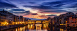 Dramatic dawn over the Ponte Vecchio in Florence