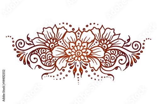 Vector Ethnic Mehndi Pattern Template Mehndi Ornament Hand Drawn