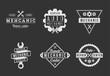 Black and white auto mechanic logo set