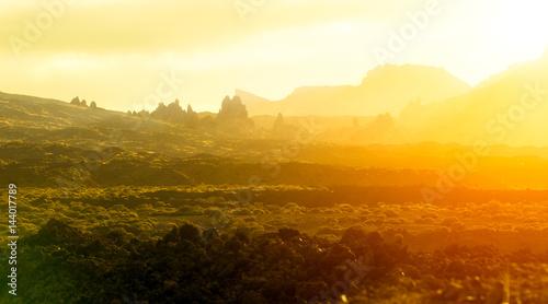 Poster Jaune El Teide Landsacape by Sunrise