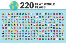 Huge Set Of Flat World Flags. Contains Such Countries As USA, UK,Azerbaijan, Turkey, Canada,Germany,Spain,Portugal,Finland,Israel,Korea,Japan,Italy,China,Asia,Russia. Vector Flags. Pixel Perfect.