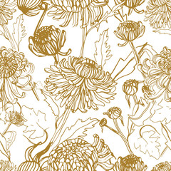Panel Szklany Do kawiarni Japanese chrysanthemum hand drawn seamless pattern with buds, flowers, leaves. Vintage style illustration.