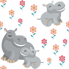 Obraz na płótnie Canvas Children's vector seamless pattern in cartoon style with the image of cute animals and their cubs.