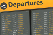 Airport Departure Board With D...