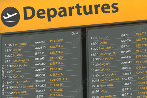 Poster Aeroport Airport Departure Board with delayed flights