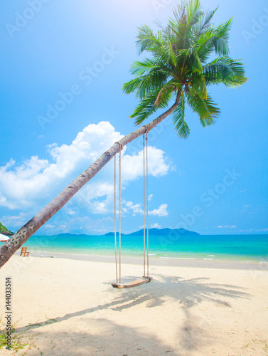 Foto op Canvas Tropical strand beach with coconut palm trees and swing
