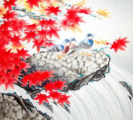 Fototapeta Florystyczny Chinese traditional painting of birds